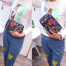 Korean Clutch  2019 Women's Leather Clutch Wallet Long Card Holder Case Purse Handbag Print Zipper Wallets Phone Bag недорого