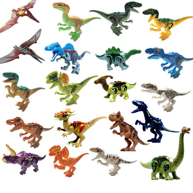 1x Legoings Jurásico dinosaurios dinosaurio parque de Raptor zona de protección conjunto de bloques de construcción juguetes de los niños Juguete Randoms