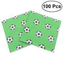 100pcs Football Paper World Cup Party Soccer Printing Tissue Paper Napkins for Holiday(China)