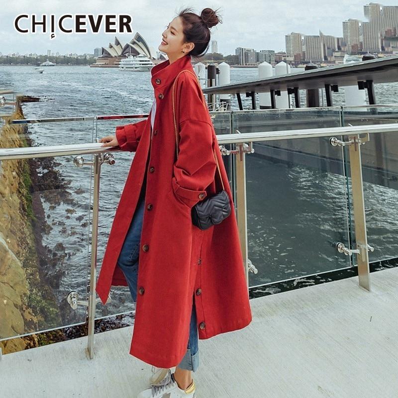 CHICEVER 2019 демисезонный женские ветровки Стенд воротник с длинным рукавом Свободные подол разделение Тренч корейская модная одежда новый