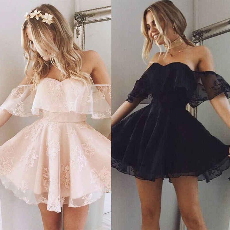 Baru Wanita Formal Renda Gaun Musim Panas Prom Bahu Pesta Pernikahan Gaun Lengan Pendek Gaun Mini Pendek Hitam Solid Pink