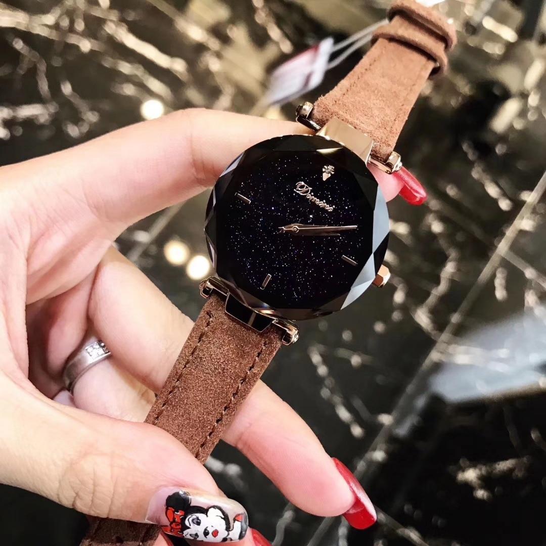 2018 Luxury Brand  Watches Women Personality Romantic Starry Sky Wristwatch Leather Rhinestone Designer Ladies Clock