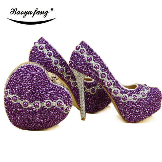 Purple Women Wedding Shoes With Matching Purse | High Heel Party Shoes
