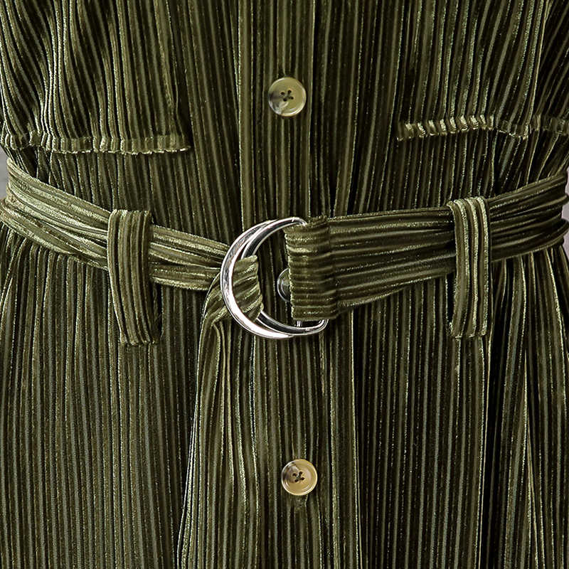 Nerazzurri uzun kadife elbise kadın uzun kollu kemer düğmesi çizgili gömlek elbise 2020 bahar artı boyutu çift yarık maxi elbise