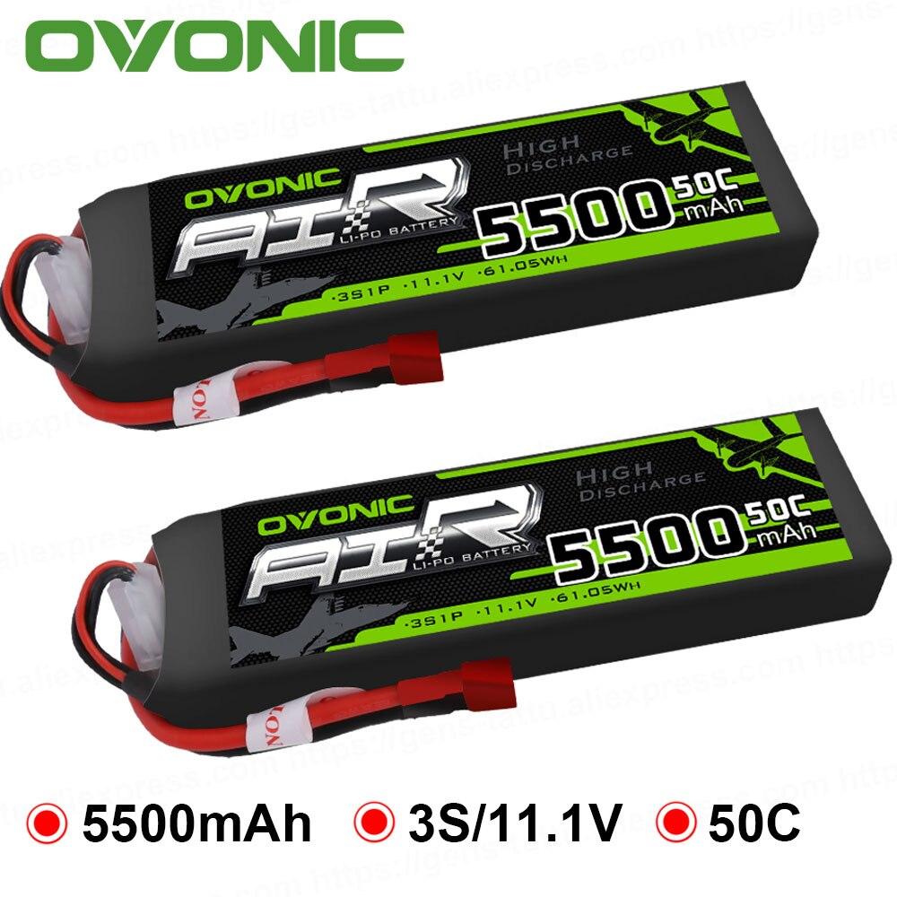 2X Ovonic LiPo batterie 5500 mAh 11.1 V LiPo 3 S 50C-100C batterie Pack T connecteur XT60 prise pour RC voiture hélicoptère quadaptateur Drone