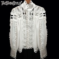 TWOTWINSTYLE Womens Shirts Blouse Stand Collar Long Sleeve Hollow Out Patchwork Lace Tops Female 2019 Spring Elegant Fashion