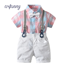 baby boys clothes set Toddler Boys Set Summer Baby Suit Shorts Triangle shirt 0 1 2Year Children Clothing Kid lattice