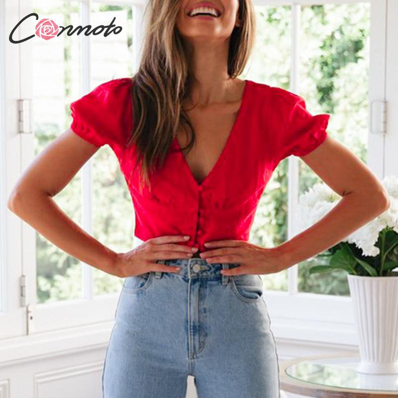 Conmoto Sexy Solid Red Short Shirts Women Vintage Puff Sleeve Tops Fashion 2019 Crop Tops Deep V Neck Button Blusa Fmininas