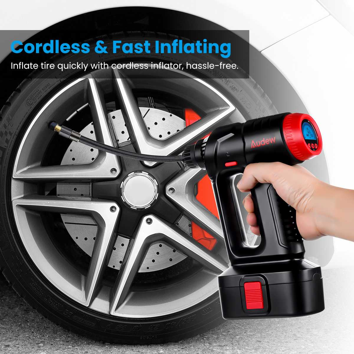 Image 4 - 12V 130PSI Cordless Handheld Air Inflatable Pump Car Tyre Inflator LCD Digital with Rechargeable Battery For Auto Emergency-in Inflatable Pump from Automobiles & Motorcycles