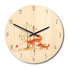 New 3D Wall Clock Quartz Cartoon Fox Modern Design 28cm Mute Movement Watch For Home Decoration Dropshipping
