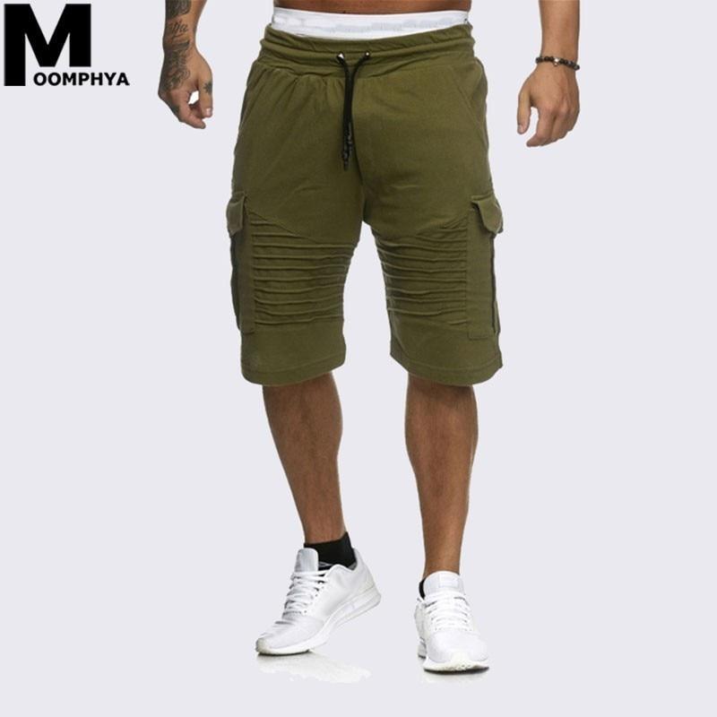 Moomphy 2019 Streetwear Pleated Stripes Shorts Men Side Pocket Knee Length Mens Shorts Joggers Sweatpants Hip Hop Trousers Men