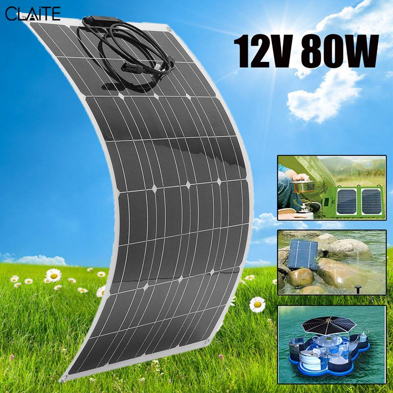 CLAITE 80W 12V Flexible Solar Panel + Wire Solar Cell DIY Battery System Kits For Camper RV Boat Pump Light Home Battery Charger