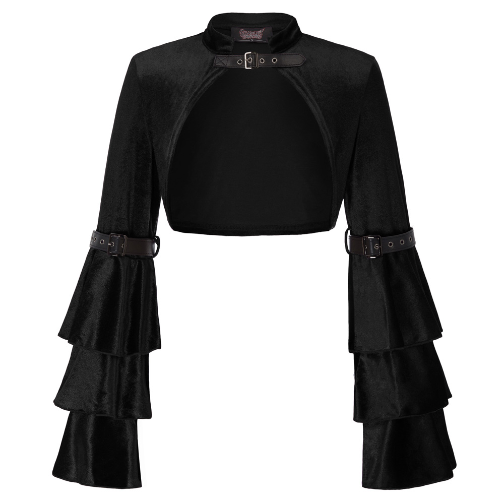 b2075c6fdbc New Women Retro Vintage Steampunk Gothic coats tops Faux leather buckle  Long flare Sleeve ruffle Cropped