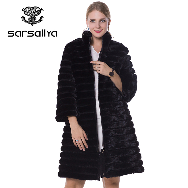SARSALLYA Real Fur Women Fur Coats Genuine Leather Styles Mink Coat Fashion Slim Winter Coats Of Fur Sell Well Natural Fur