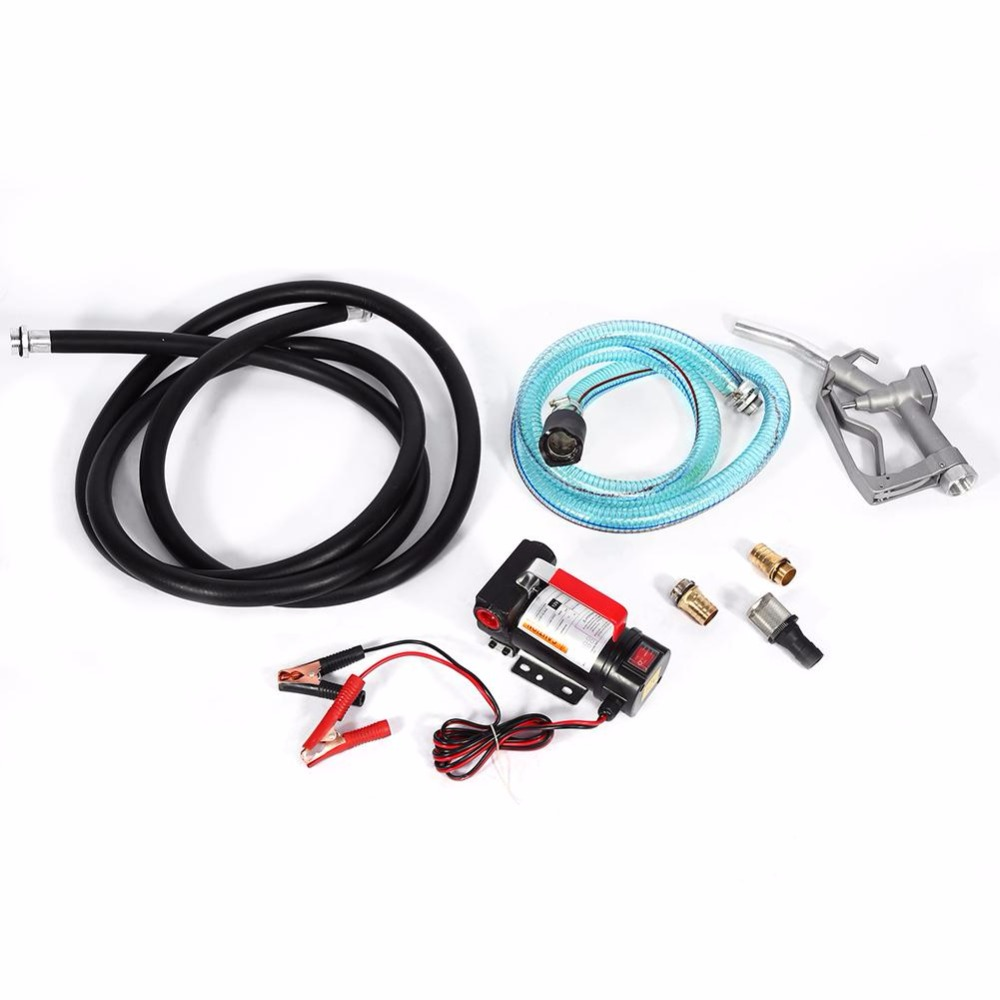 Oversea 1 Set New 12V Electric Diesel Fluid Extractor Auto Oil Transfer Pump With Fuel Nozzle