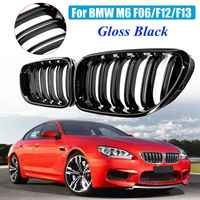1 Pair Gloss Black Front Kidney Grill Bumper Grill Double Slat Line For BMW M6 640i 650i F06 F12 F13 2012 2013 2014 15 16 2017
