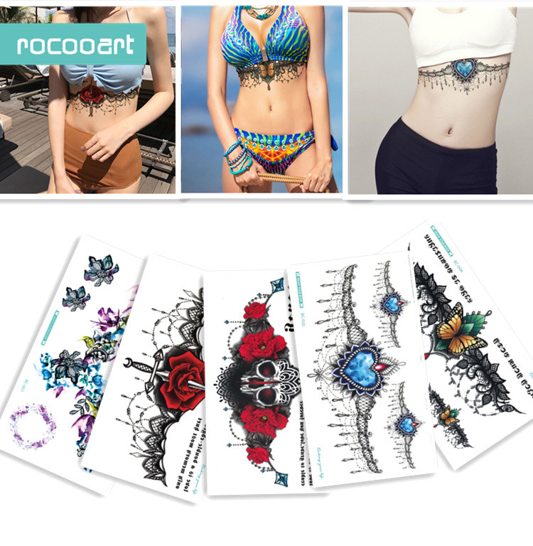 6f21fb1f586c8 BC-5 Sheets Trendy Women Chest Back Temporary Tattoo Large Flower Shoulder  Arm Sternum Tattoos. Mouse over to zoom in