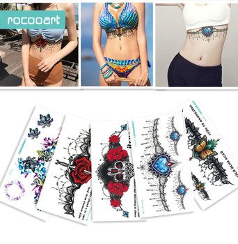 BC-5 Sheets Trendy Women Chest Back Temporary Tattoo Large Skull Flower Shoulder Arm Sternum Tattoos Sexy Henna Body Paint