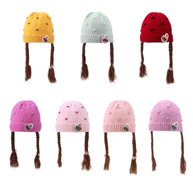 Confident Winter Autumn Baby Hats Acrylic Kids Warm Knitted Wool Caps Girls Kids Cute Wig Braids Hats