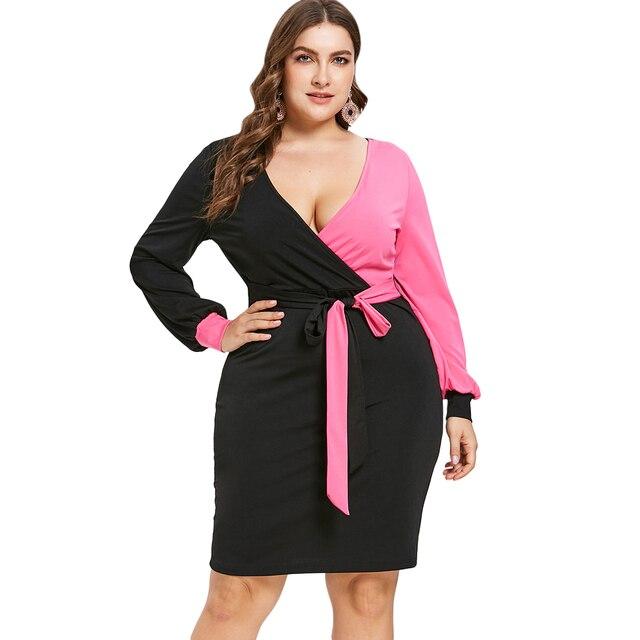 Wipalo Women Plus Size Two Tone Bodycon Surplice Dress V Neck Long Sleeves  Contrast Knee Length Tied Belt Dress 5XL Vestidos 04ec400040d9