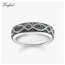 Черные обручальные кольца с узлом любви, 925 пробы, серебро, циркон, модные ювелирные изделия, трендовый подарок для женщин и мужчин, новинка, Anel