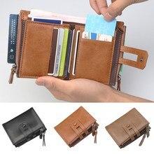 Модные мужские кошельки из натуральной кожи, тонкий складной карманный кошелек, держатель для карт, держатель для денег на молнии, уникальные кожаные кошельки