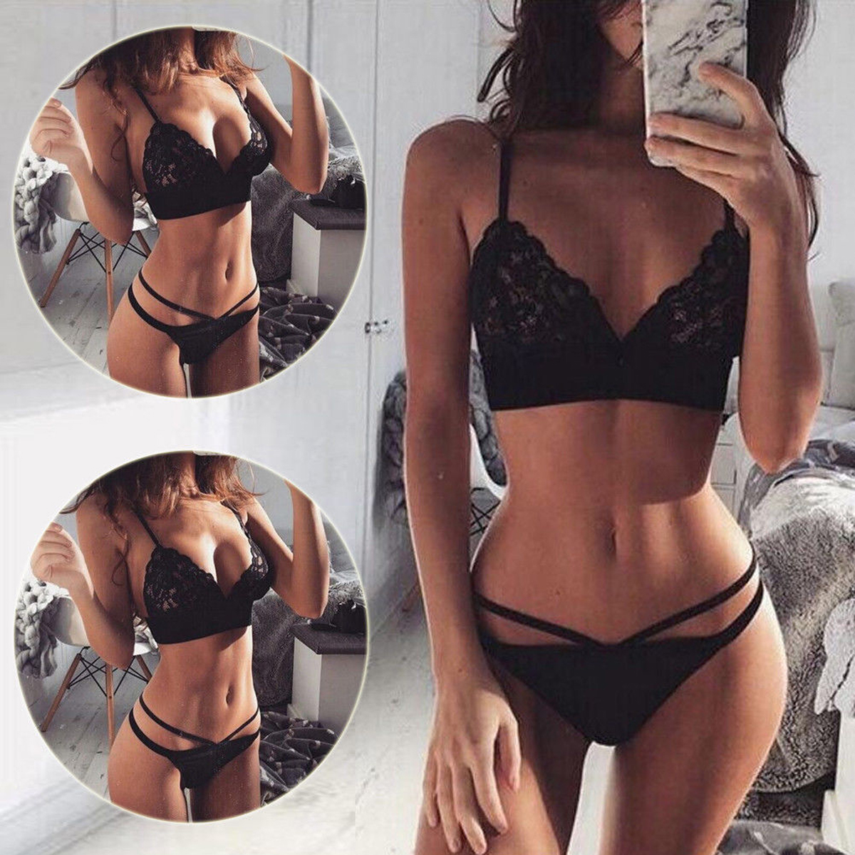 8ce9fcf301 THEFOUND Hot Women Clothing Sexy Sissy Black Lace Bra Set Lingerie Thong  See Through Push Up Bralette-in Bras from Underwear   Sleepwears on  Aliexpress.com ...