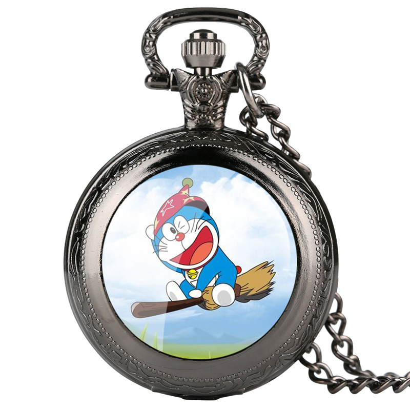 Skyrim Pokemon Pocket Watch For Kids Doraemon Pattern Quartz Pocket Watch For Students Arabic Digital Gift For Pocket Watch