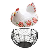 Iron Art Egg Storage Basket Metal Mesh Wire Eggs Vegetables Storage Basket With White Ceramic Farm Chicken Top Handles