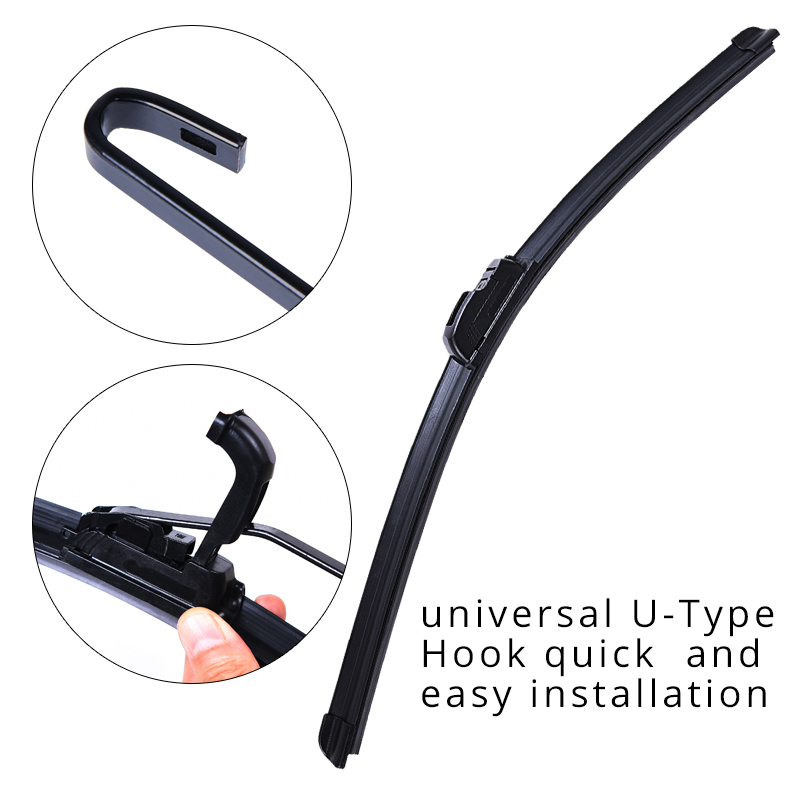 Universal U-type Soft Frameless Bracketless Rubber Car Windshield Wiper Blade 14'' 16'' 17