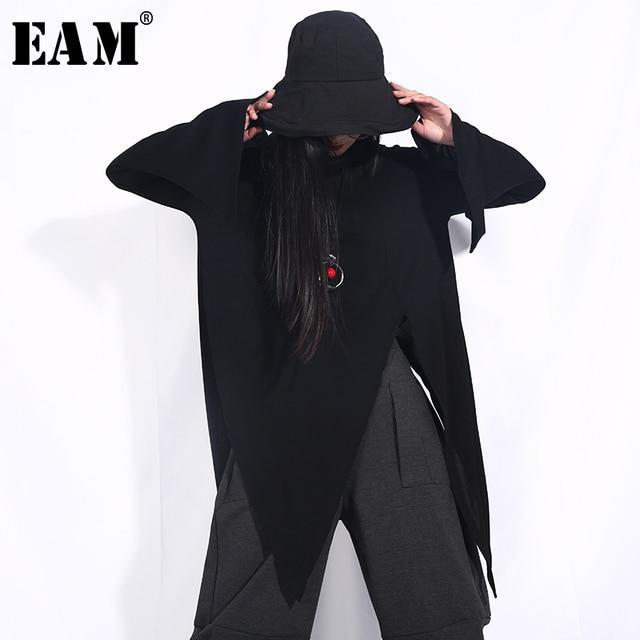 [EAM] 2019 New Spring Summer Round Neck Long Sleeve Black Loose Irregular Bandage Hem Loose T-shirt Women Fashion Tide WA89