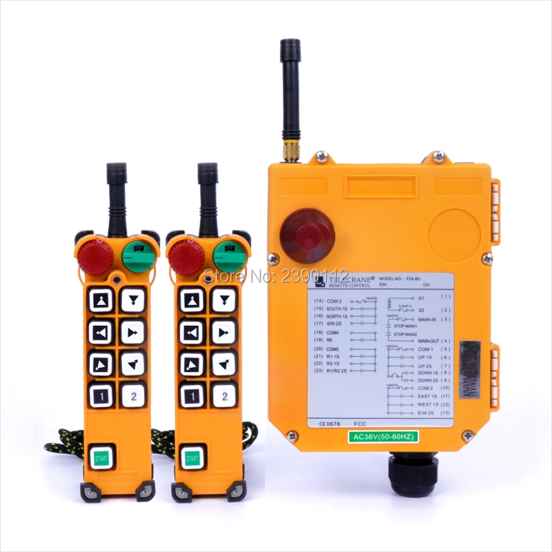 F24-8D Crane Controller 2 Transmitters 1 Receiver Industrial TELEcrane Wireless Radio Remote Control for Hoist Crane nice uting ce fcc industrial wireless radio double speed f21 4d remote control 1 transmitter 1 receiver for crane