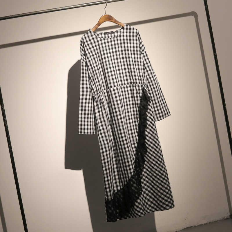 LANMREM/Новинка 2019 года; модное черно-белое клетчатое женское платье с длинными рукавами; кружевные пуловеры в стиле пэчворк; одежда; Vestido YF98701