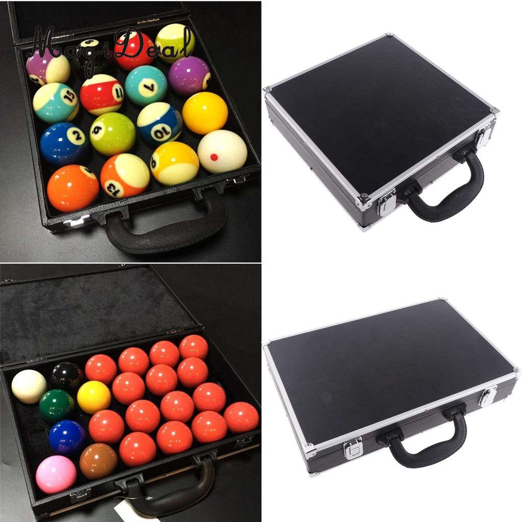 PU Billiard Storage Snooker Box Pool Balls Carrying Case For Billiard Accessory with Carry Handle Black