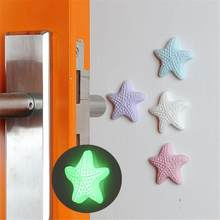 1Pc Thickening Mute Fenders Door Wall Stick Starfish Modelling with luminous Rubber Handle Door Lock Protective Pad Home Decor(China)