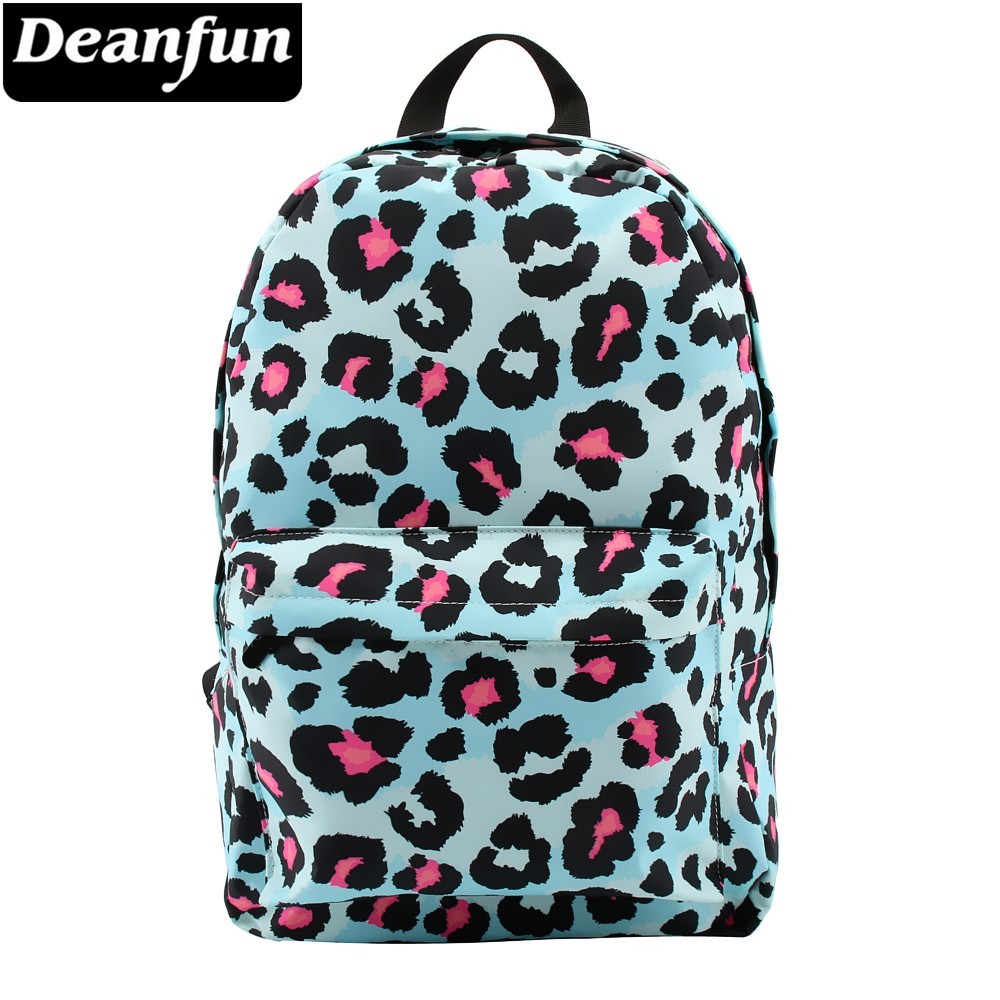 Deanfun Backpack For Girls Leopard Pattern Water Resistant Blue Backpacks Boys Teenage School Bag Gift  80046