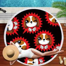 Cute Dog Beach Towels Round Microfiber Towel Beach Tassels Large Blanket Picnic Yoga Mat Sunbath Bath Towel Toalla De Playa 2019 geometric patterns summer round beach towel with tassels beach covers bath towel picnic yoga mat for adult toalla de playa