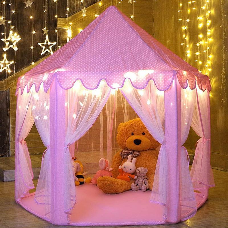 Filles Jouer Tente Hexagone Princesse Château Maison Palais Tentes Enfants Playhouse Avec Étoiles Lumière Pour Intérieur Et Extérieur Rose