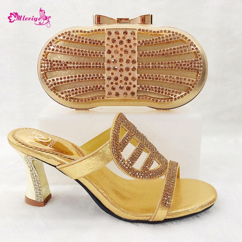 Africain Chaussures De Mariée Mode Sac Talons Été À Bleu or