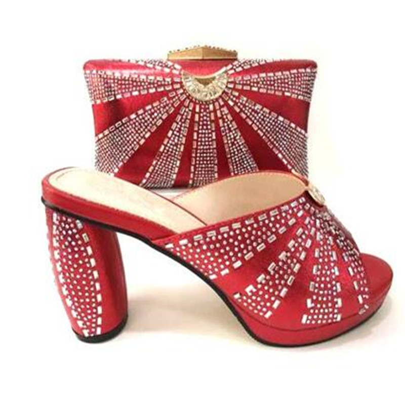 RED Shoe and Bag Italian Design Set Decorated with Rhinestone African Wedding Shoes and Bag Nigerian Women Shoes SVG1-27RED Shoe and Bag Italian Design Set Decorated with Rhinestone African Wedding Shoes and Bag Nigerian Women Shoes SVG1-27