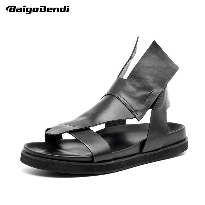 Man Rome Style Hight Cut Sandals Genuine Leather Gladiator Fighter Sandals Men Summer Beach Shoes Fashion