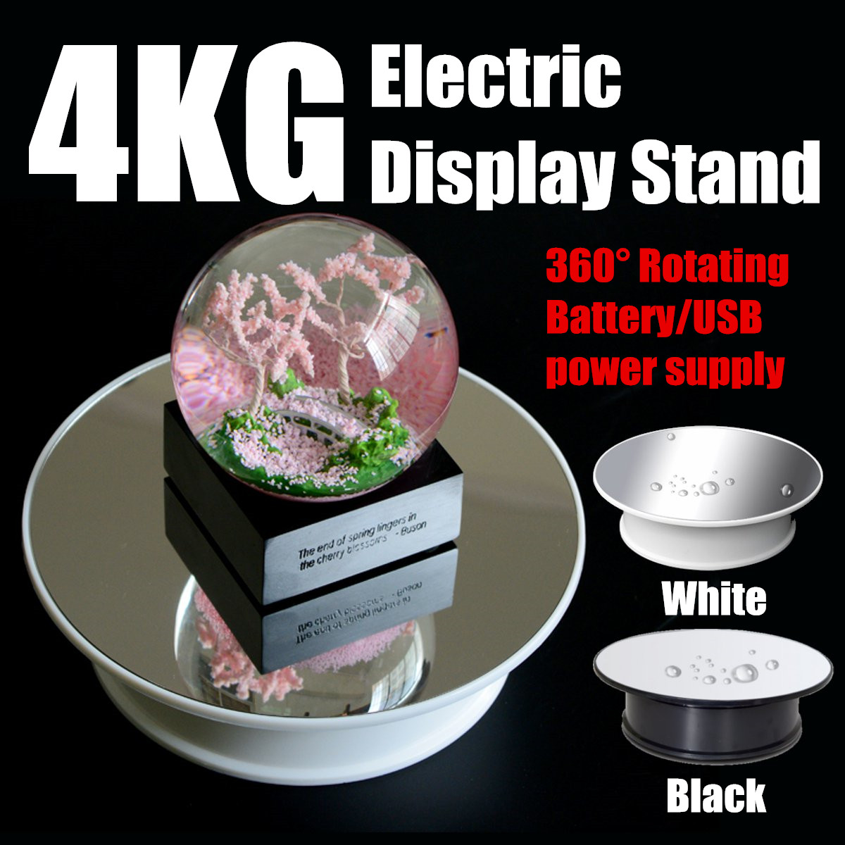 Electric 360 Degree Turntable Rotary Jewelry Display Stand Mirror Top Motorized Showcase Organizer Jewelry Accessories 2 Colors