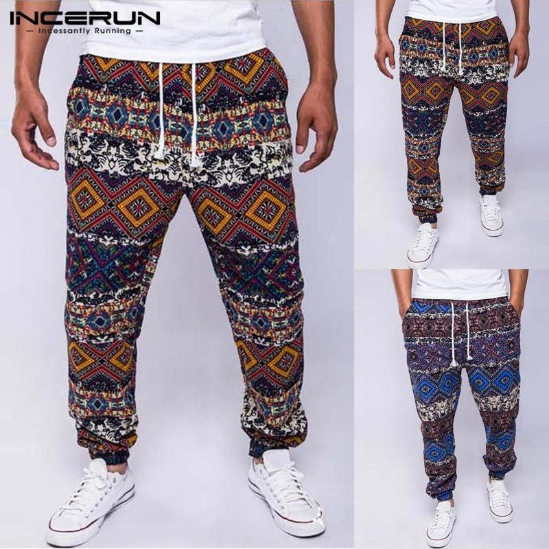 INCERUN Men Casual Pants Ethnic Print Drawstring Cotton Joggers Baggy Trousers Men Loose African Style Pants Men Pantalon S-5XL