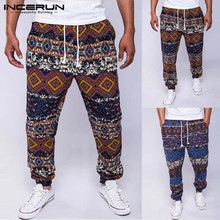 INCERUN Men Casual Pants Ethnic Print Drawstring Cotton Joggers Baggy Trousers Men Loose African Style Pants Men Pantalon S-5XL