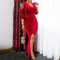 Vintage Velvet Maxi Dress Elegant Evening Women Luxury Red Sexy V Neck Split Floor Length Party Bodycon Retro Long Dress Female