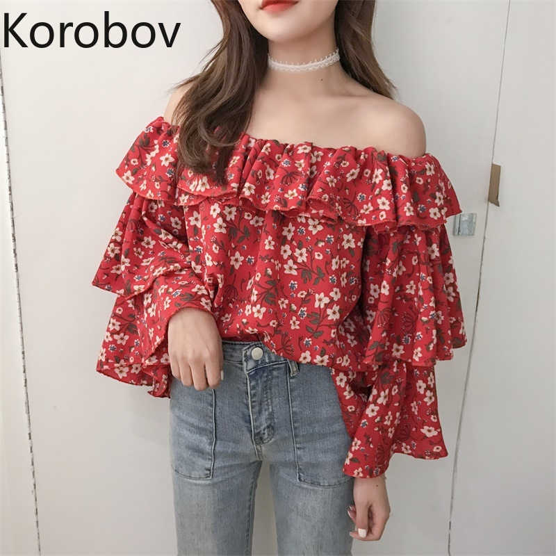 Women's Clothing 2018 New Womens Printing Fashion Blouses V-neck Lantern Sleeve Bohemian Short Design Holiday Shirts Sexy Lace Up Vintage Shirt