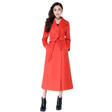 Long Coat Womens Winter Casual Lapel Wool Blend Double Breasted Pea Coat Trench Coat Plus Size S-XXXL цена 2017