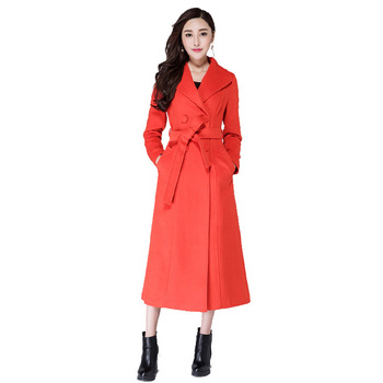 Long Womens Winter Lapel Wool Blend Double Breasted Pea Trench Coat Plus Size S-XXXL female overcoat brand children s clothing in the big girl wool coat autumn and winter children s long section of the red double breasted trench
