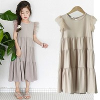2019 new children's dresses girls 10 years sleeveless dress mesh patchwork clothes 2 16 years old