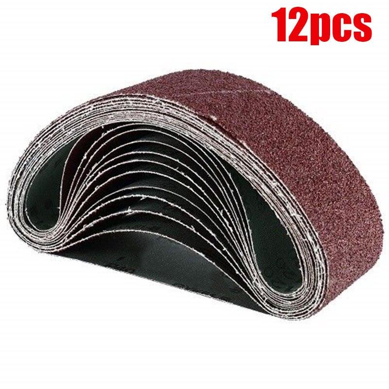 12pcs/Set Grinding Sanding Belts Grinder Accessories Grit Aluminum Oxide For Sander Polishing Replacement Machine Abrasive Tool